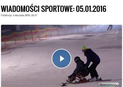 Telewizja Poznań w Wiadomościach Sportowych o narciarzach monoski : Narciarstwo 4 - Start Poznań