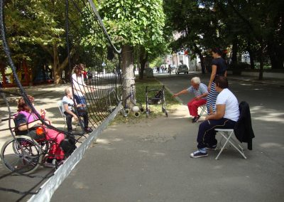 People with Disabilities playing Ringnetball and Dzhamiya in the Center of the Town of Kyustendil START Erasmus + Sport 2 - Start Poznań